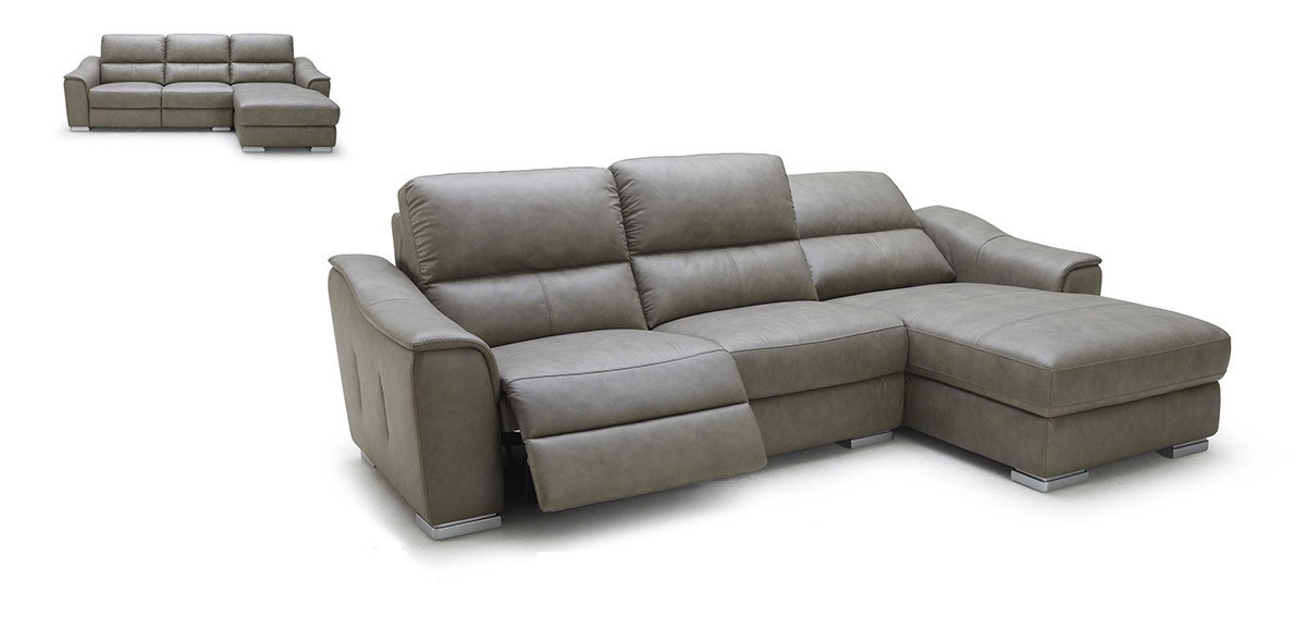 Grey Leather Sectional Couch