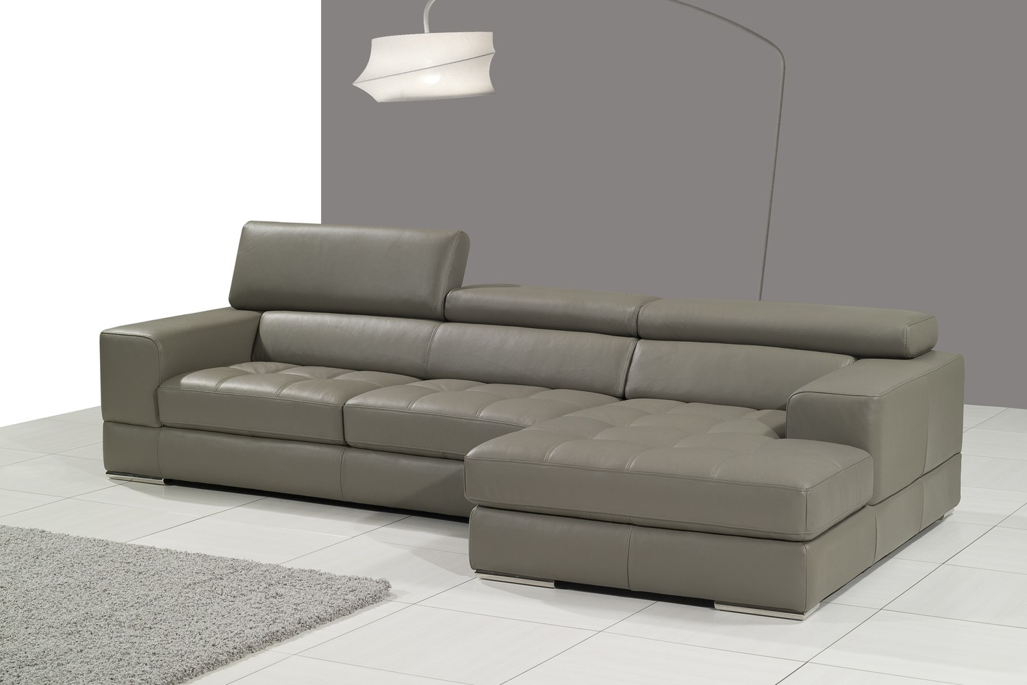 Gray leather sectional couch couch sofa ideas interior for Leather sectional sofa