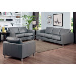 : grey leather sofa and loveseat