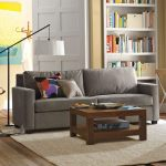 : grey paint brown leather couch
