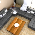 : grey walls leather couch