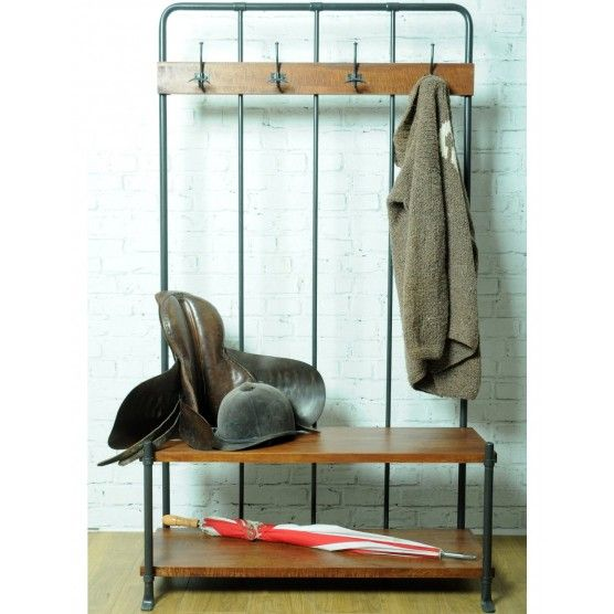 hallway bench coat rack