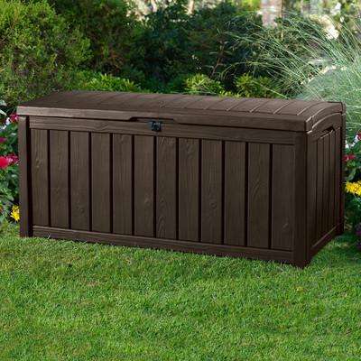 keter iceni plastic garden storage bench box