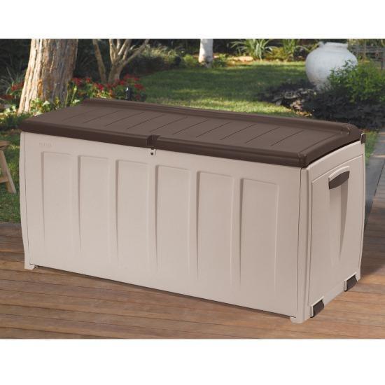 keter plastic garden bench box with storage