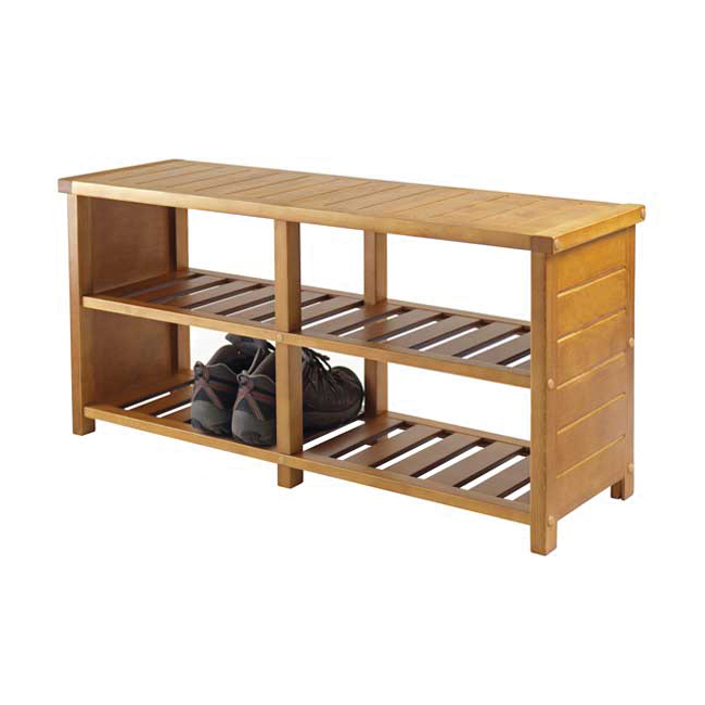 keystone entryway bench with shoe storage teak