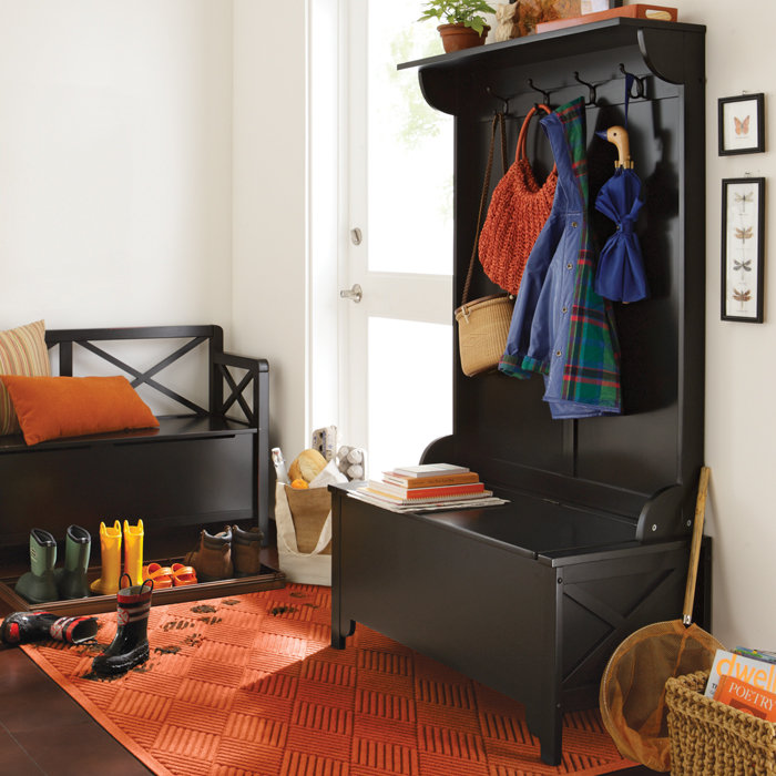 modern hall tree storage bench