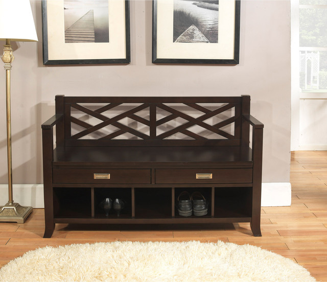 modern hallway bench with storage