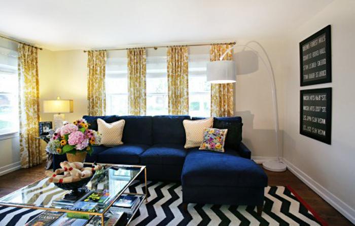Navy Blue Velvet Couch For Sale