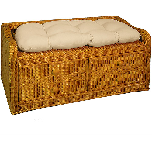 outdoor wicker storage bench with cushion