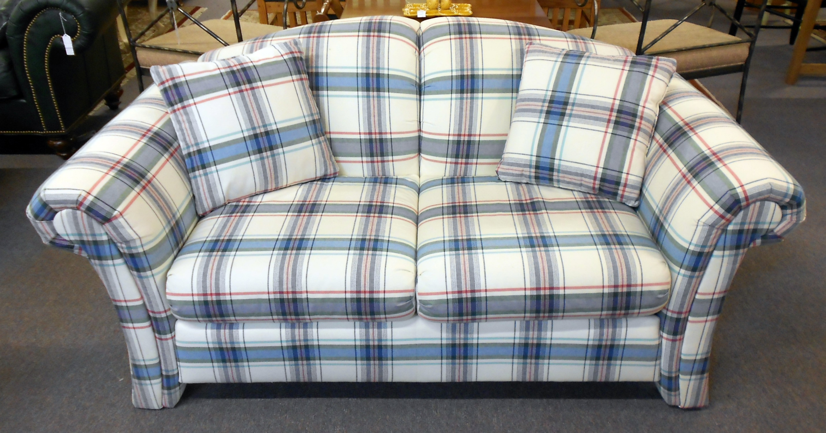 Plaid Sofa And Loveseat