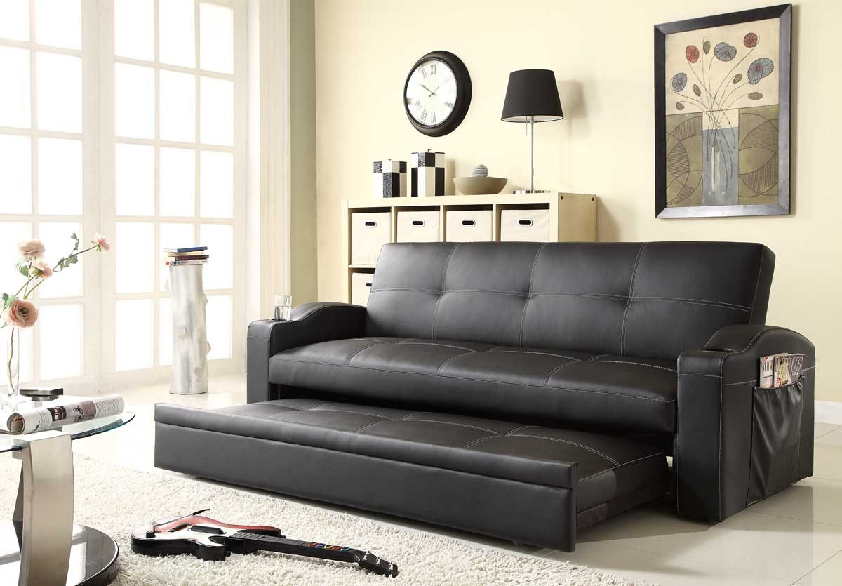 Pull Out Leather Loveseat