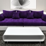 : purple and white sofa
