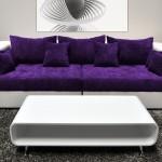 : purple and white sofa