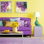 : purple sofa and yellow walls