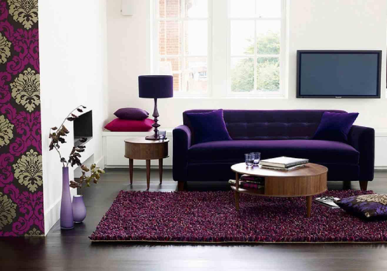 Purple Sofa Green Walls