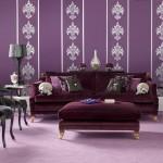 : purple sofa in living room