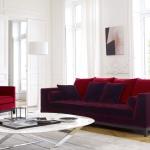 : purple sofa living room