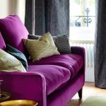 : purple sofa room ideas
