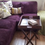: purple sofa what colour walls