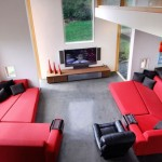 : red and black corner sofa