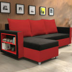 : red and black futon sofa