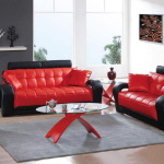 : red and black leather couch