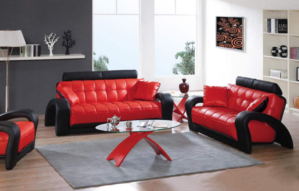 Red And Black Leather Couch