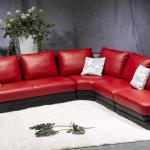 : red and black leather couches