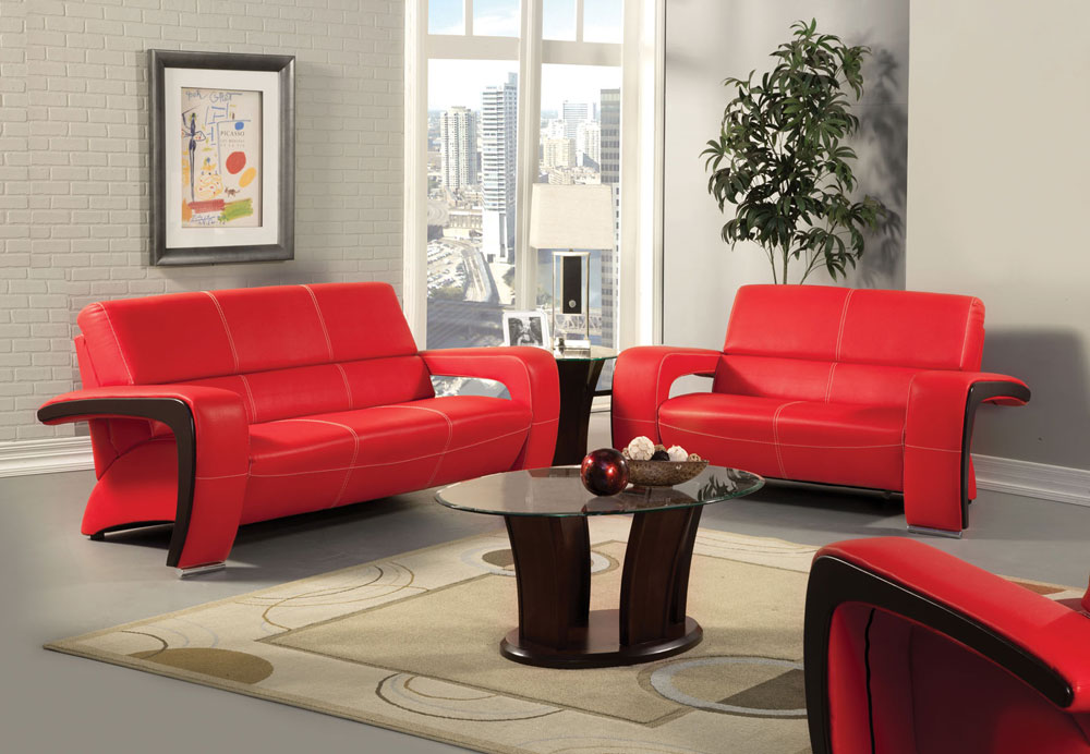 Red And Black Leather Sectional