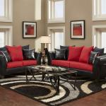 : red and black sofa cushions