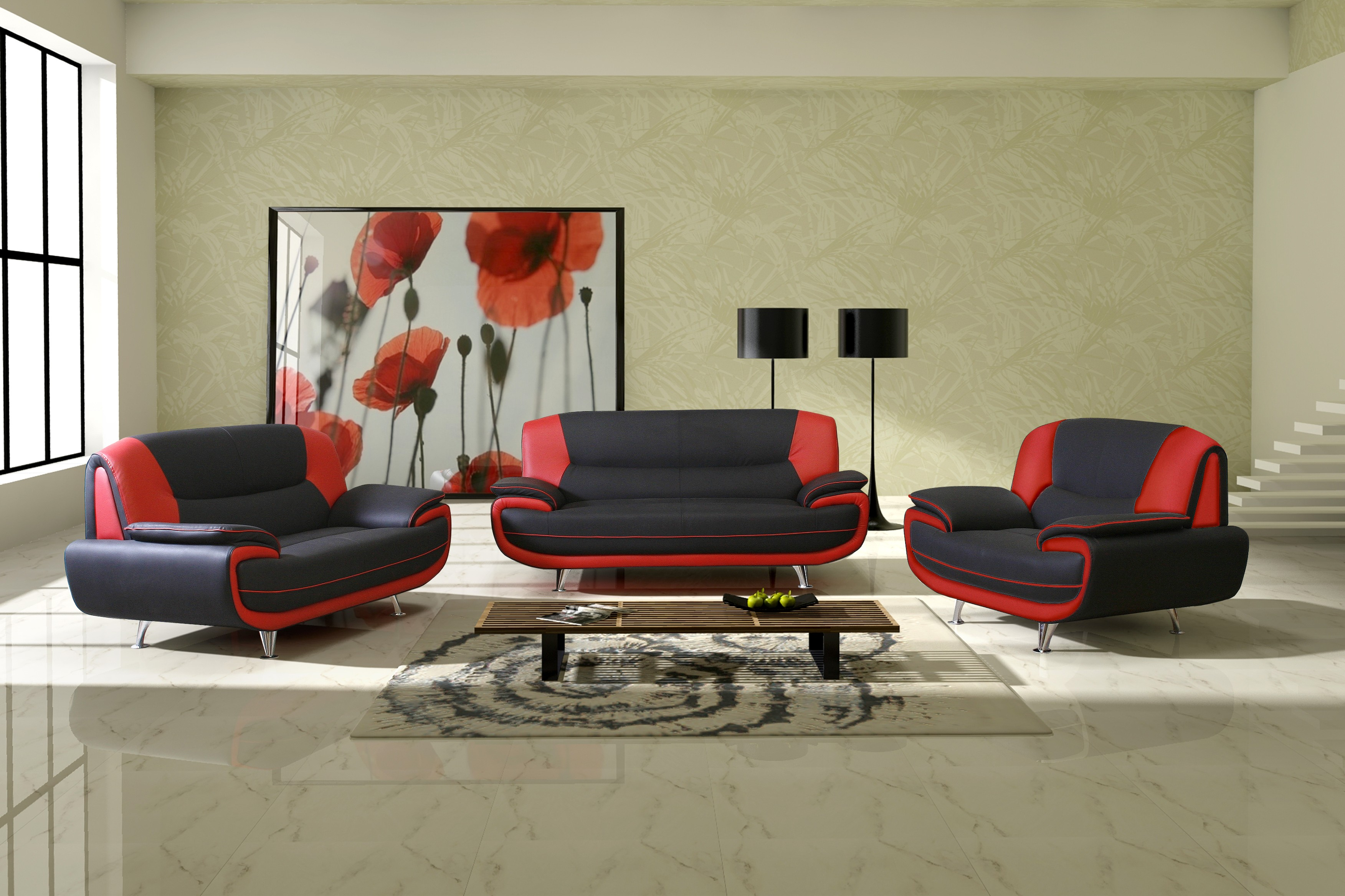 Genial Red And Black Sofa Set Designs