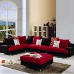 : red and black sofa sets