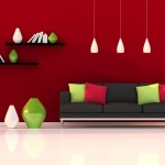 : red black and green sofa
