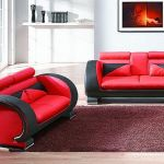 : red black and white sofa