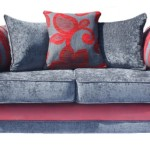 : red denim couches