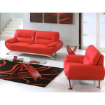 : red leather couch and loveseat