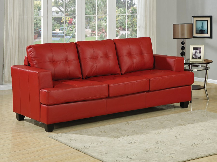 Red Leather Couch Sofa Bed