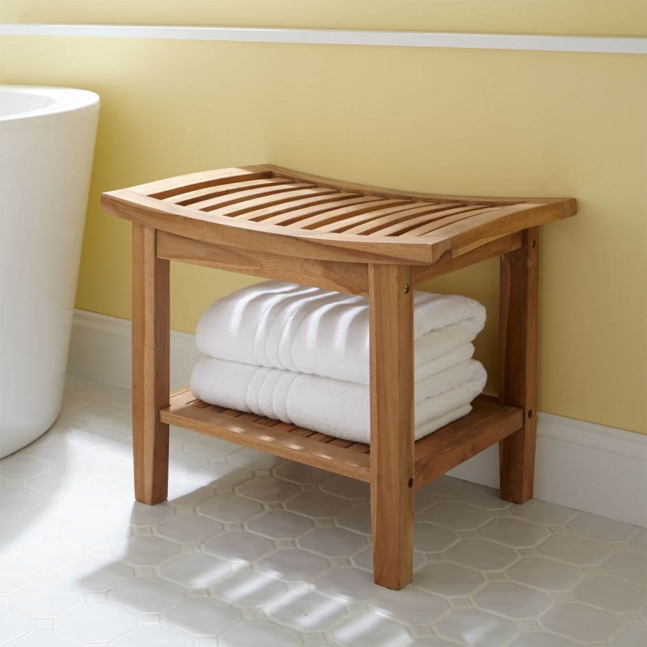shower bench with storage