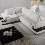 : small leather l shaped couch