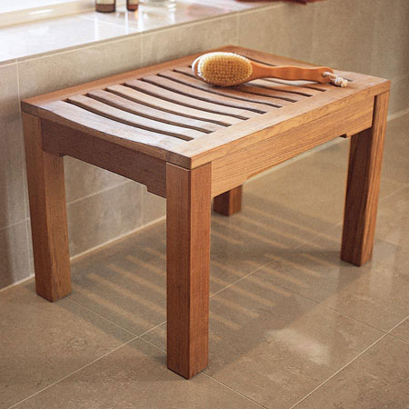 teak bench for bathroom