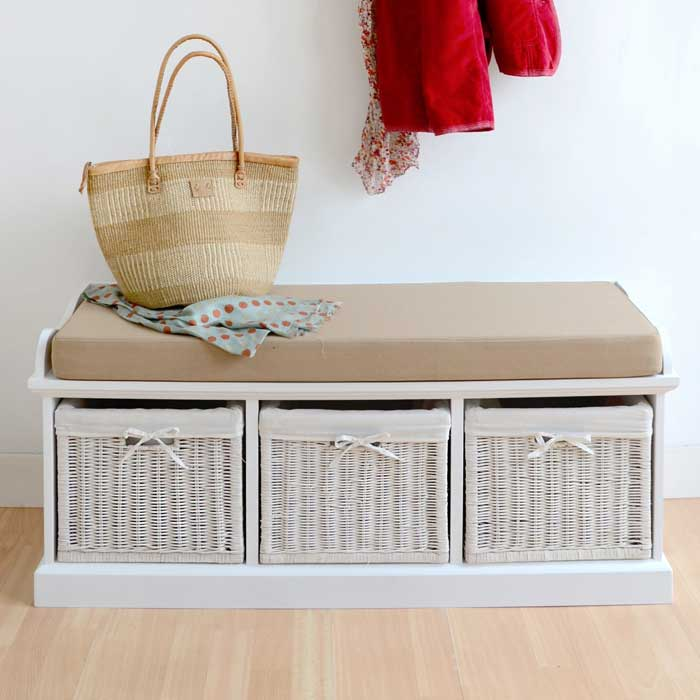 tetbury hallway bench white hallway storage bench with baskets and cushion