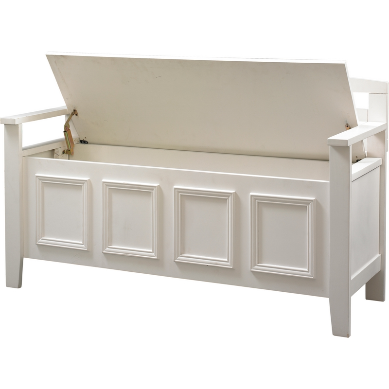 white wood bench with storage