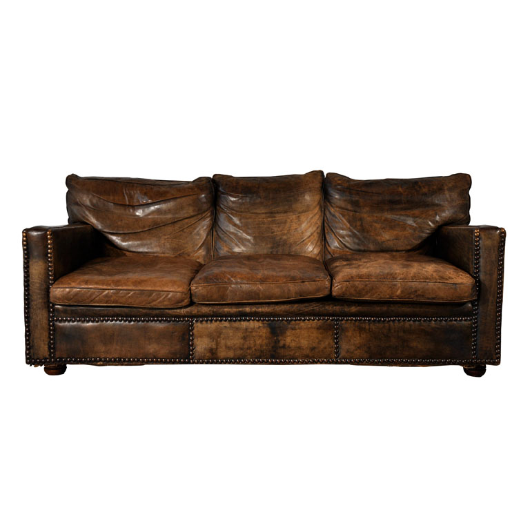 Worn Leather Sofas For Sale