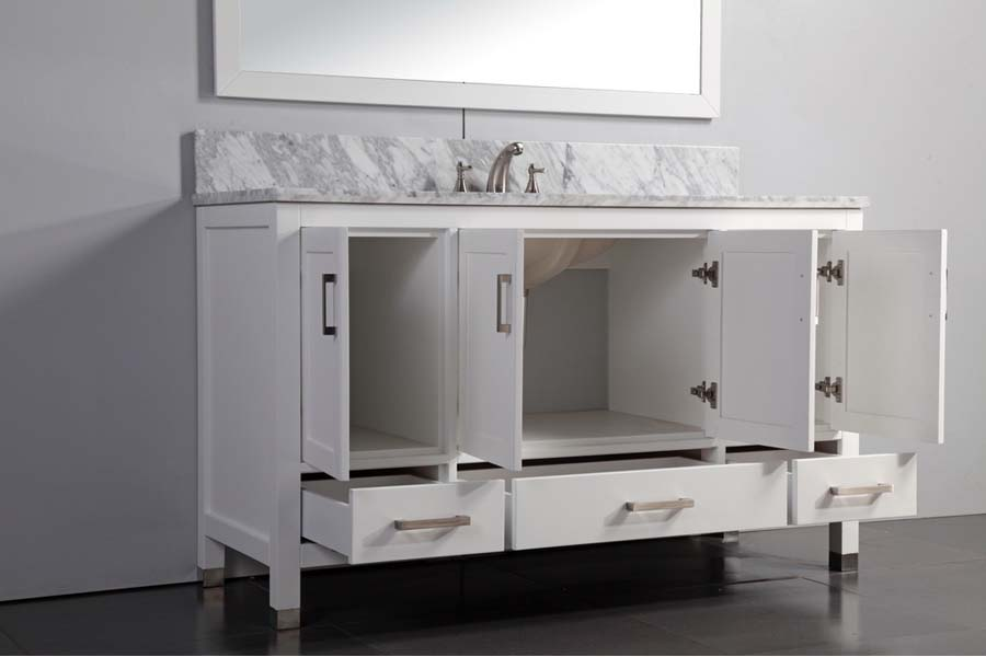60 inch white bathroom vanity single sink
