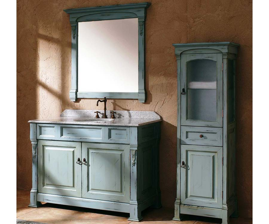 Antique blue bathroom vanity