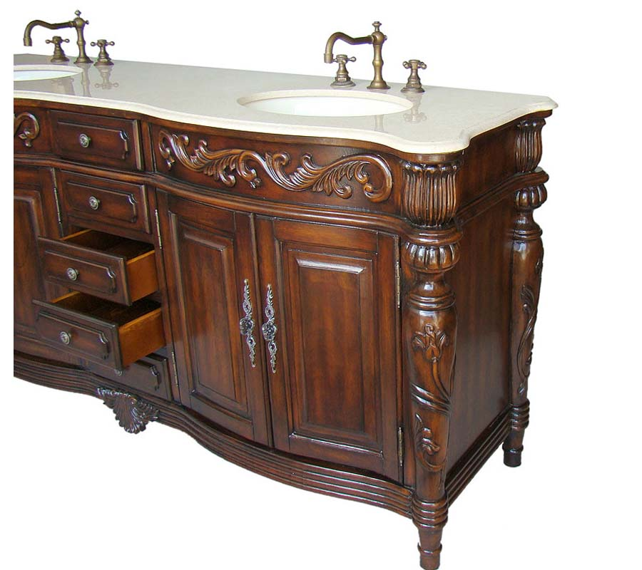 Antique double sink bathroom vanity