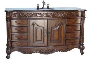 Antique dresser converted to bathroom vanity