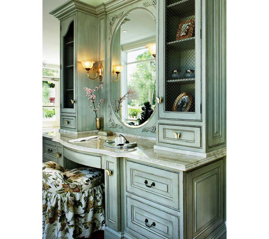 Antique green bathroom vanity