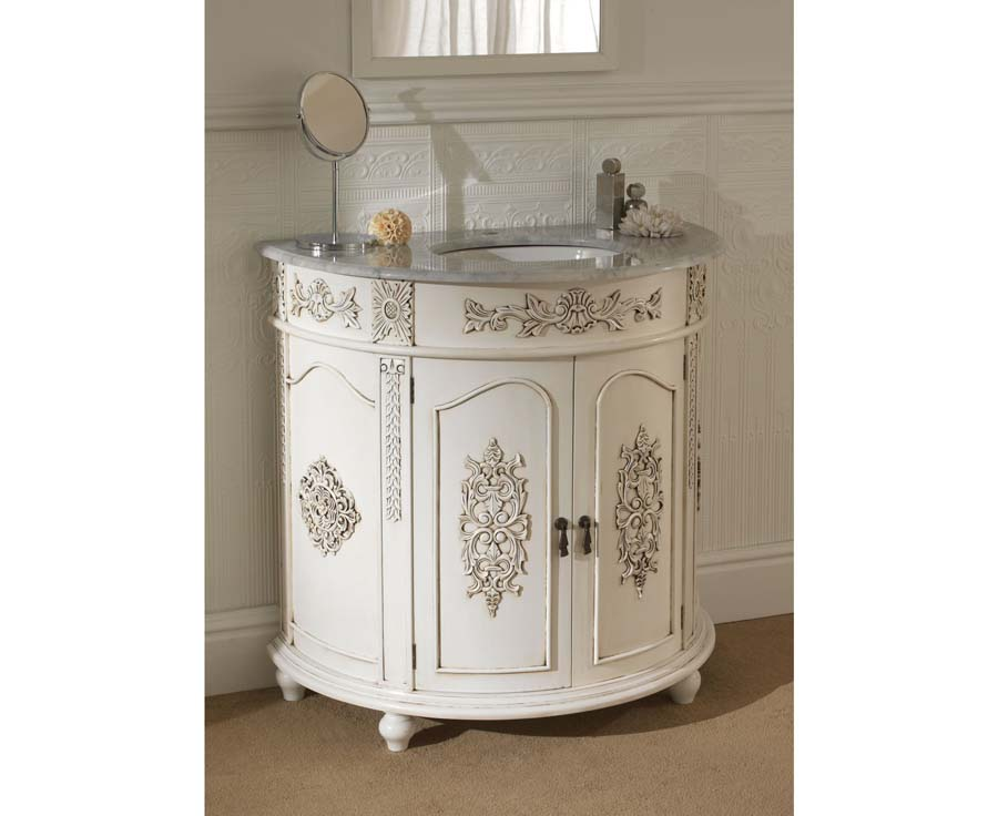 Antique white bathroom vanity cabinet