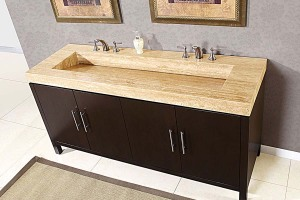Bathroom vanities with travertine tops